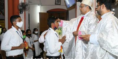 Bishop Peter Paul Confers Sacrament of Confirmation at Holy Rosary Church Alangar